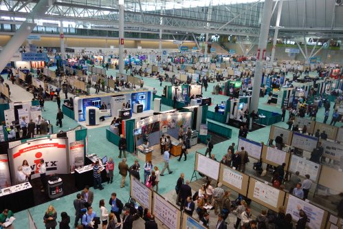 Scientists sharing research at the Experimental Biology Meeting